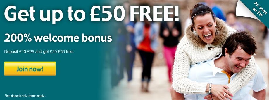 Get up to £20 FREE! 200% welcome bonus
